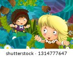 cartoon scene with caveman... | Shutterstock . vector #1314777647