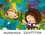 cartoon scene with caveman... | Shutterstock . vector #1314777704