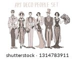 art deco people set. gatsby... | Shutterstock . vector #1314783911