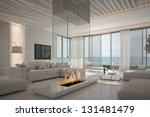 A 3d Rendering Of White Living...