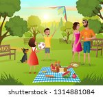 happy happy family picnic in... | Shutterstock .eps vector #1314881084