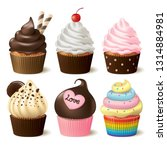 cupcake vector set on white... | Shutterstock .eps vector #1314884981