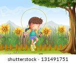 illustration of a girl playing... | Shutterstock . vector #131491751