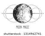 triple moon pagan wicca moon... | Shutterstock .eps vector #1314962741