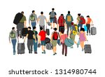 passengers with luggage walking ... | Shutterstock .eps vector #1314980744