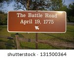 """Sign for """"The Battle Road"""" for April 19, 1775 in historic Concord/Lexington area where US  Revolutionary War started"""