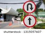 u turn and go ahead taffic... | Shutterstock . vector #1315057607