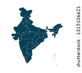 map of india   high detailed on ... | Shutterstock .eps vector #1315106621