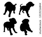 black puppy silhouette on white ... | Shutterstock .eps vector #1315216844
