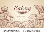 bakery background. hand drawn... | Shutterstock .eps vector #1315243481