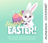 happy easter bunny poster. cute ... | Shutterstock .eps vector #1315243487