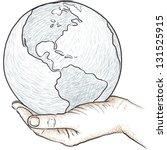 hand holding the world   Shutterstock .eps vector #131525915