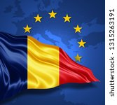 romania flag of silk with... | Shutterstock . vector #1315263191