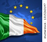 ireland  flag of silk with... | Shutterstock . vector #1315263197