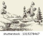 river flow landscape. hand... | Shutterstock .eps vector #1315278467