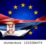 serbia flag of silk with... | Shutterstock . vector #1315286474