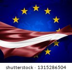 latvia  flag of silk with... | Shutterstock . vector #1315286504