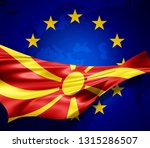 macedonia flag of silk with... | Shutterstock . vector #1315286507