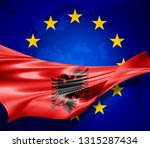 albania flag of silk with... | Shutterstock . vector #1315287434