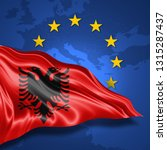 albania flag of silk with... | Shutterstock . vector #1315287437