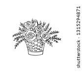 wicker basket with rose flowers ... | Shutterstock .eps vector #1315294871