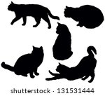 Stock vector set of a posing cats vector silhouettes 131531444