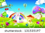 illustration of happy bunny... | Shutterstock .eps vector #131535197