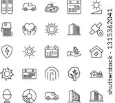 thin line icon set   sun vector ...