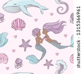 happy couple mermaid wedding...   Shutterstock .eps vector #1315366961