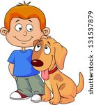 boy and puppy | Shutterstock . vector #131537879
