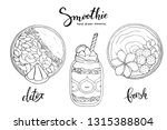 smoothie bowl doodles set.... | Shutterstock .eps vector #1315388804