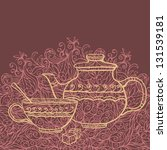 Background With Teapot  Cup An...