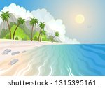 summer paradise beach and palm... | Shutterstock .eps vector #1315395161