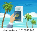 air tickets and passports in... | Shutterstock .eps vector #1315395167