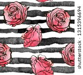 red roses on the striped... | Shutterstock .eps vector #1315396694