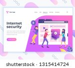landing page template social... | Shutterstock .eps vector #1315414724