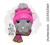 vector rat with pink hat and...   Shutterstock .eps vector #1315423364