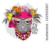 vector rat with wreath  glasses ... | Shutterstock .eps vector #1315423367