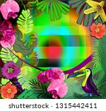 tropical pattern with leaves ... | Shutterstock .eps vector #1315442411