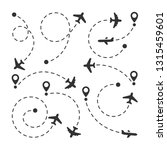 vector set of plane dotted... | Shutterstock .eps vector #1315459601