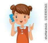 small girls use mobile phones...   Shutterstock .eps vector #1315505261