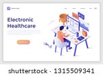landing page with man sitting... | Shutterstock .eps vector #1315509341