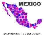 mosaic mexico map isolated on a ... | Shutterstock .eps vector #1315509434