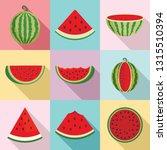 watermelon icons set. flat set...   Shutterstock .eps vector #1315510394
