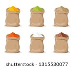 indian spice powder in sack.... | Shutterstock .eps vector #1315530077