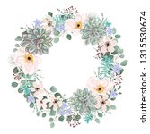 beautiful wreath of flowers and ... | Shutterstock .eps vector #1315530674