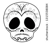outline of a sad mexican skull... | Shutterstock .eps vector #1315538084