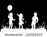 children's play in the meadow   Shutterstock .eps vector #131556515