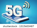 5g white letters standing on a... | Shutterstock . vector #1315603487