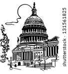 us capitol building   retro... | Shutterstock .eps vector #131561825